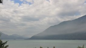 View of Squamish Inlet. Taken from Brittania Mine as the most rolls in before the storm Stock Image