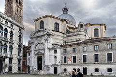 View of the square called `Campo San Geremia` with the Catholic church of `San Geremia` Royalty Free Stock Image