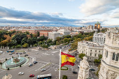 View of Square of Cibeles from Town Hall of Madrid Stock Image