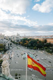 View of Square of Cibeles from Town Hall of Madrid Royalty Free Stock Image