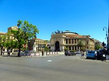 View of the square in front of the Teatro Politeama Garibaldi in Palermo, Italy stock image
