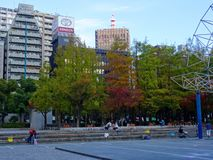 View of the square in Kobe`s East Park Higashi Yuenchi royalty free stock photo