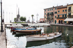 View of the square in Lazise on Lake Garda Stock Photos