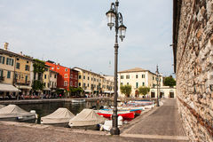 View of the square in Lazise on Lake Garda Stock Photo