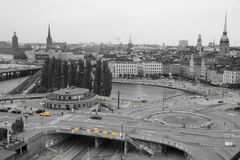 View of the square in Stockholm, black and white with a yellow highlight.  Royalty Free Stock Images