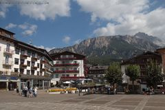 Typical buildings of Cortina d`Ampezzo. Dolomites, Veneto, Italy Royalty Free Stock Photos