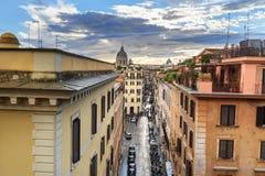 View on sreet Via di S. Sebastianello from Piazza della Trinita dei Monti. Rome. Italy. View on sreet Via di S. Sebastianello from Piazza della Trinita dei Monti stock image