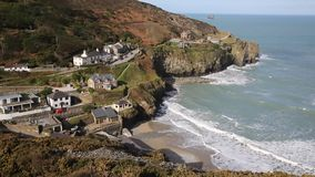 View of St Agnes Cornwall coast England UK. St Agnes north coast of Cornwall England United Kingdom located near to Redruth and Newquay, popular with tourists it stock video