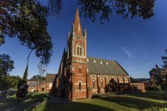 Wagga Wagga – St Andrew Presbyterian Church. View of the St Andrew Presbyterian Church, a Victorian Gothic Revival building, erected in 1890 in brick and Stock Photos
