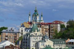 View of St. Andrew`s Church from bald mountain, Kiev, Ukraine. stock image