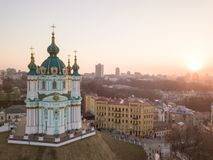 View of St. Andrew`s Church and the historical Podol part of the city Kiev, Ukraine Royalty Free Stock Photography