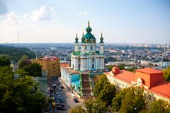 View of the St. Andrew`s Church in Kiev stock photography