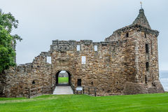 View of St. Andrews Castle front entrance. St. Andrews, Scotland - September 16, 2014: View of ruinous St. Andrews Castle Fore Tower and front wall and entrance Royalty Free Stock Images