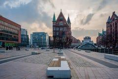 View at St. Annenplaza and Neuerwegsbridge in Hamburg royalty free stock photos