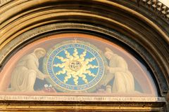 A view of St. Anthony Basilica on Sunday -  A detail upon  the entrance doors  - Padua, Italy Stock Images