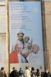 A view of St. Anthony Basilica on Sunday - Pilgrims under the Saints  Anthony, John  XXIII and Johannes Paulus II - Padua, Italy Royalty Free Stock Images