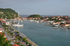 View of St.Barth harbour (French West Indies). A view of the port of Gustavia, the main town of the island of St.Barth (Saint Barthelemy), the most exclusive royalty free stock image