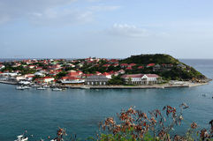 View of St.Barth harbour (French West Indies). View of the port of Gustavia, the main town of the island of St.Barth (Saint Barthelemy), the most exclusive stock images
