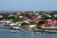 View of St.Barth harbour (French West Indies). View of the port of Gustavia, the main town of the island of St.Barth (Saint Barthelemy), the most exclusive stock image