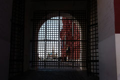 A view of St. Basil's Cathedral through the arch of Resurrection gate Stock Photos