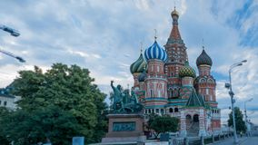 View of the St. Basil's Cathedral and monument to stock video footage
