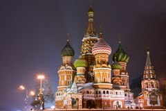 View of St. Basil's Cathedral at night Royalty Free Stock Images