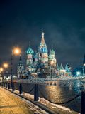 View of St. Basil`s cathedral on the Red Square in Moscow at night stock image