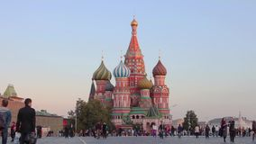 A view of the St. Basil's Cathedral, Red Square, Moscow, Russia. Moscow, Russia, A view of the St. Basil's Cathedral, Red Square stock video footage