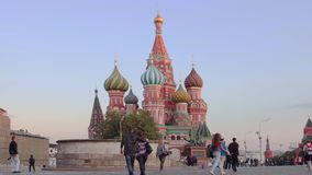 A view of the St. Basil's Cathedral, Red Square, time-lapse Moscow, Russia. Moscow, Russia, A view of the St. Basil's Cathedral, Red Square stock video