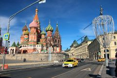 View of St. Basil`s Cathedral and Vasilyevsky Descent. Stock Image