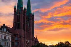 View of the St. Bonifatius Church at sunset in Kreuzberg, Berlin. St. Bonifatius is a catholic church in the Kreuzberg district of Berlin, Germany stock images