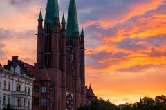 View of the St. Bonifatius Church at sunset in Kreuzberg, Berlin. St. Bonifatius is a catholic church in the Kreuzberg district of Berlin, Germany stock photos