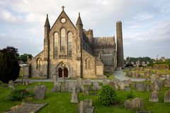 View of St Canices cathedral in Kilkenny in Ireland stock images