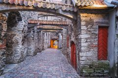 Old Town of Tallinn, Estonia. View of St. Catherine`s Passage, Old Town of Tallinn, Estonia Stock Image