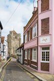 View of a St Clement churchl down a street in Hastings, UK. HASTINGS, UK - MAY 13 2017: View of a St Clement churchl down a street in Hastings, UK. It`s one of stock image