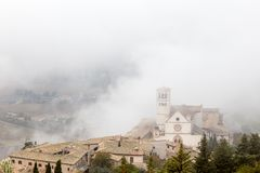 View of St. Francis papal church in Assisi Umbria, Italy in th stock images