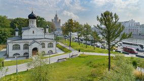 St. George`s Church, Zaryadye Park, Moscow stock photography