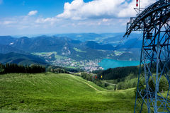 View of St. Gilgen, Wolfgangsee lake and mountains in Austria Stock Photo