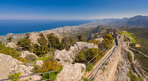 View from St. Hilarion castle near Kyrenia 2 Royalty Free Stock Photo