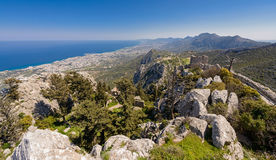View from St. Hilarion castle near Kyrenia 4. A view from St. Hilarion castle of the surrounding country side near Kyrenia, Northern Cyprus stock images