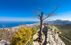 View from St. Hilarion castle near Kyrenia 5. A view from St. Hilarion castle of the surrounding country side near Kyrenia, Northern Cyprus royalty free stock photography