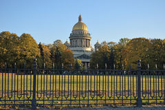 View of St. Isaac's Cathedral Admiralty embankment Stock Photo