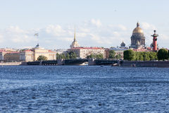 View of St. Isaac's Cathedral and the admiralty in Sankt-Pterbur Royalty Free Stock Image