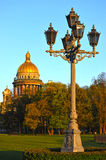 View of St. Isaac's Cathedral and carved lantern Royalty Free Stock Images
