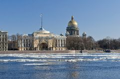 View of St. Isaac's Cathedral and Neva Stock Photography