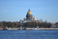 View of St. Isaac's Cathedral and the River Neva Royalty Free Stock Photo
