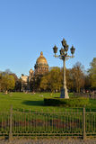 View of St. Isaac's Cathedral, Senate square and tourists on the Stock Photo