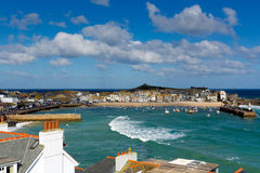 View of St Ives Cornwall England with harbour, boats and blue sky Stock Photography
