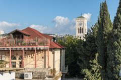 View of St. Joseph Church from the roof of International Marian Centre in Nazareth city in Israel. Nazareth, Israel, December 20, 2018 : View of St. Joseph royalty free stock photos