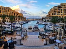 San Giljan Yacht marina bay. View of the St. Julian& x27;s luxury apartments and yacht marina in Malta Stock Images